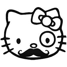 Hello Kitty French Mustache Vinyl Decal Sticker