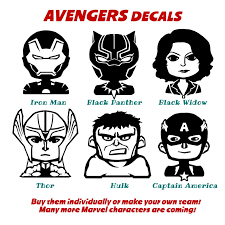 Marvel Avengers Family Car Decal Comics Hero Vinyl Laptop Etsy
