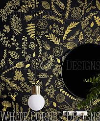 Amazon Com Botanical Wall Decals Modern Vinyl Decal Set Flower Blossoms Leaf Decals Gold Wall Decals Nursery Decor Floral Wall Stickers Ga130 Handmade