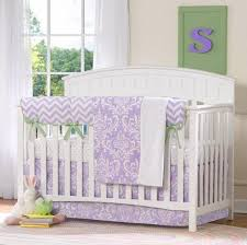 lavender damask 3 pc crib bedding set