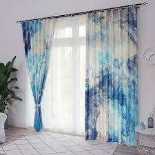 2020 2x Window Drapery Nursery Kids Children Room Curtain Window Dressing Tulle Covering Pull Pleated Grommet Hook Oil Painting Blue From Greenliv 75 38 Dhgate Com
