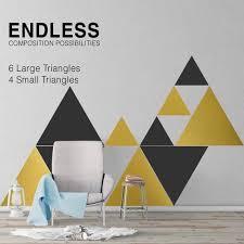 Triangles Mid Century Geometric Wall Decal Wall Art Modern Etsy