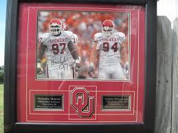 Tommie Harris & Dusty Dvoracek U of Oklahoma Signed, framed football  photograph | #1783698294