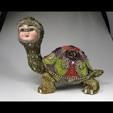 George the Tortoise by Betsy Youngquist. $4,000.00, via Etsy. | Bead art,  Art dolls, Unique art