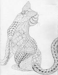 Cat Abstract Doodle Zentangle Zendoodle Paisley Coloring Pages