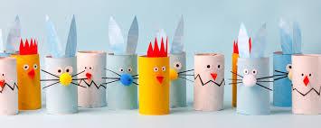 Wielkanocne króliki i kurczaki z rolek po papierze toaletowym ...