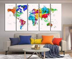Amazon Com Colorful World Map Push Pin Canvas Print Watercolor World Travel Map Watercolor Wall Decal For Bedroom Framed World Map Abstract Wall Art 844 Handmade