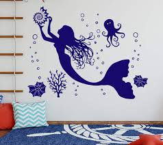 Amazon Com Mermaid Wall Decal Nymph Sea Ocean Sticker Bathroom Vinyl Decals Corals Art Room Decor Octopus Decal Baby Decal Mermaid Stickers Se130 Handmade