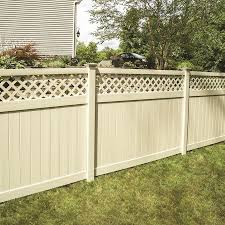 Freedom Ready To Assemble Conway 6 Ft H X 8 Ft W Sand Vinyl Lattice Top Fence Panel In The Vinyl Fence Panels Department At Lowes Com