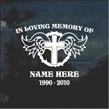 Cross Wings In Loving Memory Window Decal Sticker Custom Sticker Shop