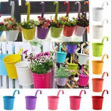 20 Iron Flower Pot Strong Hanging Balcony Garden Fence Bucket Plant Herb Planter Ebay