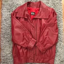 oversized red leather jacket
