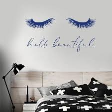 Eyelash Vinyl Wall Decal Quote Hello Beautiful Closed Girl Eyes Extensions Stickers Art Women Bedroom Wall Decor Eyelashs Decal Wall Decor Decal Wall Murals From Onlinegame 10 67 Dhgate Com
