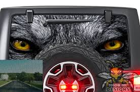 Wolf Eyes Rear Window Stickers Jl Wrangler Perforated Decals
