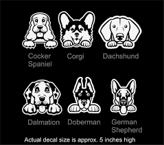 Dog Car Window Decal Vinyl Car Window Decal Cocker Spaniel Corgi Dachshund Dalmation Doberman German Shepher Dog Breed Decal Dog Peeking Corgi Dachshund