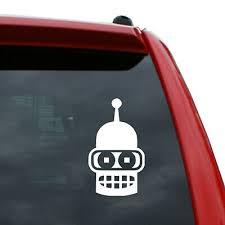 Futurama Benders Face Sticker Vinyl Decal Window Laptop Jeep Truck Iphone