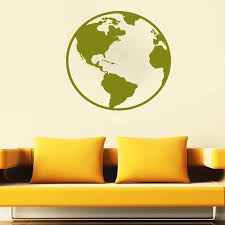 Earth Wall Decal Nature Globe Map Planet Seas Oceans Land Cosmos Vinyl Wall Sticker Office School Classroom Interior Decor S992 Wall Stickers Aliexpress