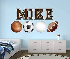 Amazon Com Custom Sport Balls Name Wall Decal Soccer Room Decor Basketball Wall Decals Football Wall Decals Volleyball Nursery Art Mural Vinyl Sticker 40 X 20 Baby