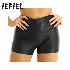 shorts wet look faux leather