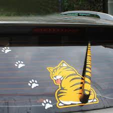 Funny Car Sticker Rear Window Windshield Wiper Yellow Cat Wagging Tail Decal Ebay