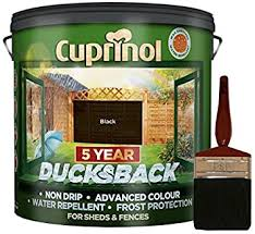 New 2018 Cuprinol Ducksback Shed Fence Paint 9 Litre Black Non Drip Water Repellent And Frost Defence Protection For 5 Years Includes Psp 4 Fence Application Woodcare Brush Amazon Co Uk Diy Tools
