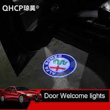 Qhcp 2pcs Car Door Welcome Lights For Alfa Romeo Giulia Stelvio Car Led Door Warning Light Projector Light Logo Customizable Car Stickers Aliexpress