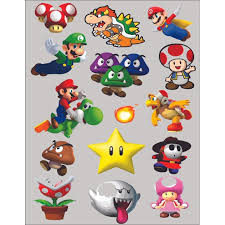 Mario Characters Super Mario Bros Arcade Game Wall Sticker Art Design Decal For Girls Boys Kids Room Bedroom Nursery Kindergarten House Fun Home Decor Wall Art Vinyl Decoration Size 10x8 Inch