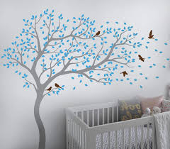 Amazon Com Tree Wall Decal Large Tree Wall Sticker Forest Mural Tree Blowing In The Wind Tree Wall Decals Wall Sticker Nursery Decals 099 Grey Ice Blue Brown Kitchen Dining
