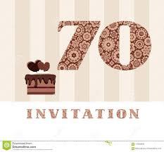 Invitacion 70 Anos Torta De Chocolate Corazon Vector