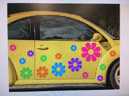 Amazon Com Large Flowers Set 15 10 Free Usa Decal Stickers Car Boat Truck Van Golf Cart Tropical Colors Hot Pink Purple Bright Blue Guaranteed Automotive