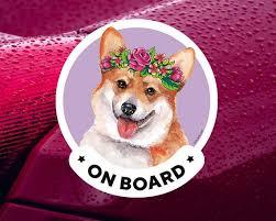 Pembroke Welsh Corgi On Board Car Window Sticker For Women Etsy