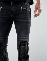 leather jeans skinny asos black