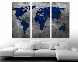 Sapphire Blue World Map Canvas Print Wall Art 3 Panel Split Triptych Canvas Quest
