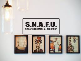 S N A F U Situation Normal All Fucked Up Car Or Wall Decal Fusion Decals
