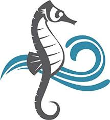 Amazon Com Cool Simple Nautical Ocean Waves Silhouette Cartoon Icon Seahorse Vinyl Decal Sticker 4 Tall 2 Automotive