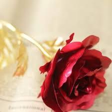 وردة مذهبة اللون أحمر مع شهادة الجودة علبة القلب المميزة Deep