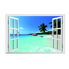 3d Window Decal Wall Sticker Home Decor Exotic Beach View Art Wall Mural Decor For Sale Online