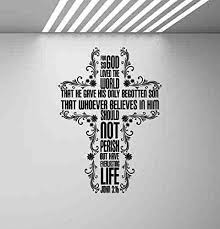 For God So Loved The World Wall Decal John 3 16 Decal Sign Religious Gift Bible Quote Lettering Cross Decal Vinyl Sticker Print Faith Wall Art Christian Decor God Poster Church Mural