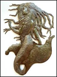 mermaid with long hair metal wall decor