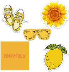 Amazon Com Cute Yellow Aesthetic Vinyl Laptop And Water Bottle Decal Sticker Pack For Girls Made In Us Computers Accessories