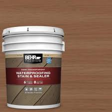 Behr Premium 5 Gal St 112 Barn Red Semi Transparent Waterproofing Exterior Wood Stain And Sealer 507705 The Home Depot