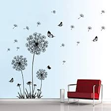Amazon Com Decalmile Dandelion Wall Decals Flying Flowers Butterflies Wall Stickers Dandelion Wall Art Living Room Bedroom Decor Black Kitchen Dining