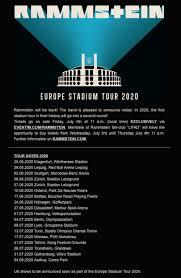 rammstein announce aggressive 2020 euro