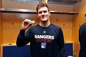 Adam Fox celebrates his first. - New York Rangers | Facebook