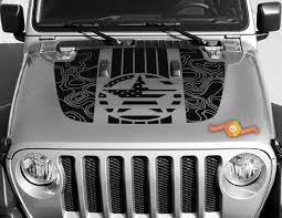 Jeep Gladiator Jt Wrangler Jl Jlu Hood Topographic Map Military Vinyl Decal Sticker