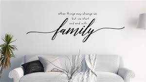 Start And End With Family Vinyl Decal Wall Stickers Letters Words