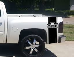 Product Custom Truck Chevrolet Bow Tie Bed Stripe Decal Set Of 2 For Chevy Pickup