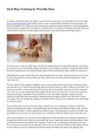 Deaf Dog Training by Priscilla Ross