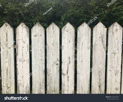 Close Whitewashed Vintage Picket Fence Green Stock Photo Edit Now 1224916345