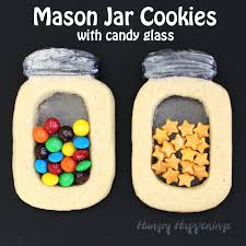 mason jar cookies with candy glass and